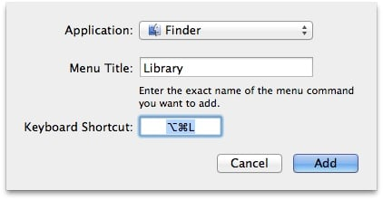 Setting Up a Keyboard Shortcut to the Library Folder