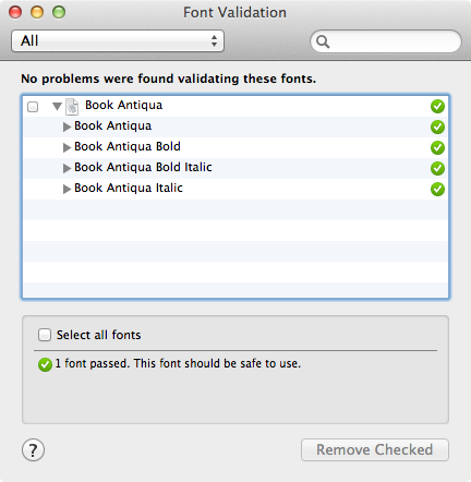 Font Validation in Font Book