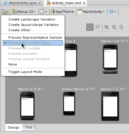 Android Studio Previewing Screen Sizes