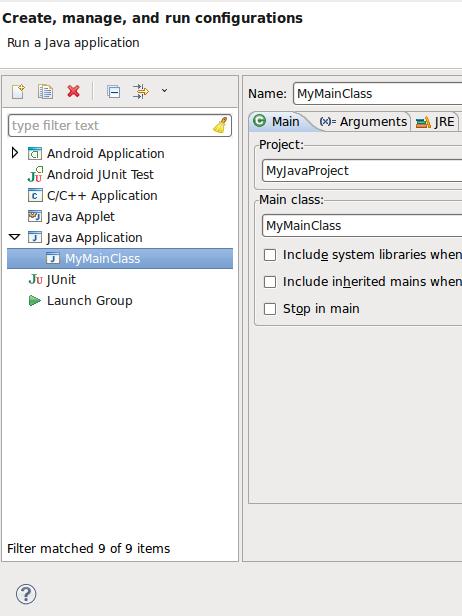 Java Run Configuration