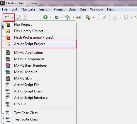 Flash Builder Select Project Menu.