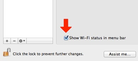 Make sure your Wi-Fi status is shown in your menu bar