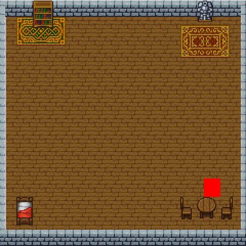 an indoor room with wooden floors, stone walls, furniture, and a red square player colliding with a table in the corner