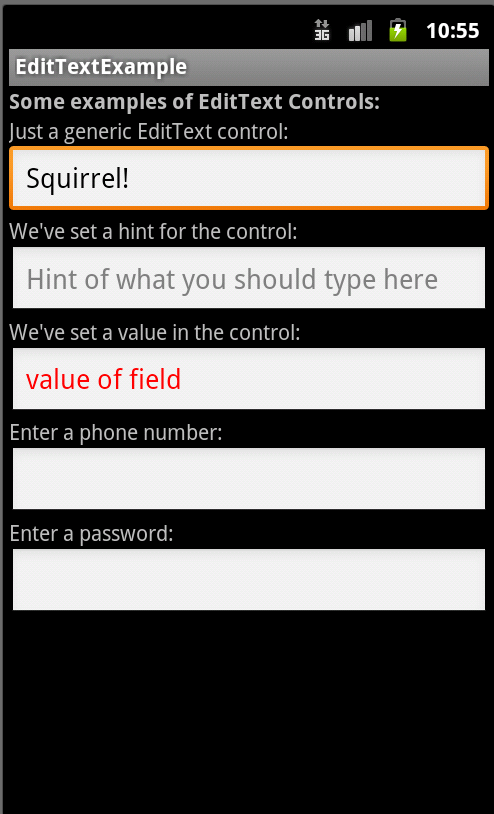 Android screen with numerous EditText controls
