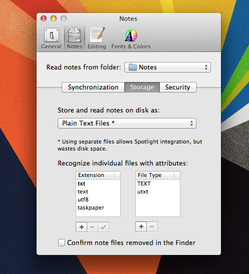 With these settings, Notational Velocity will save each note in to a separate text file.