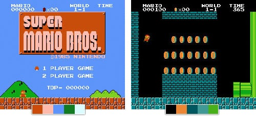 Color Palettes from Super Mario Bros.