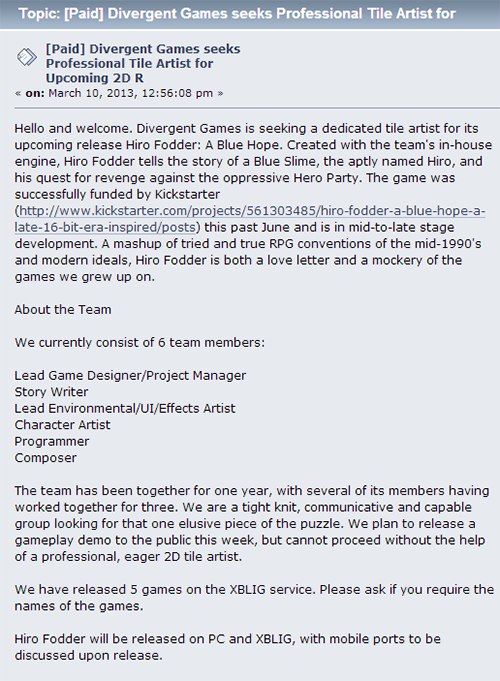 A portion of an actual job listing for our game Hiro Fodder A Blue Hope
