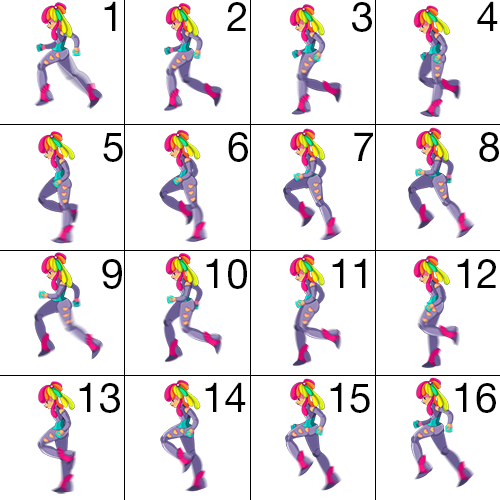 spritesheet divided into frames and numbered