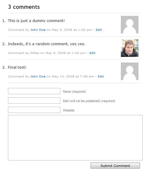 Comment Edit Link