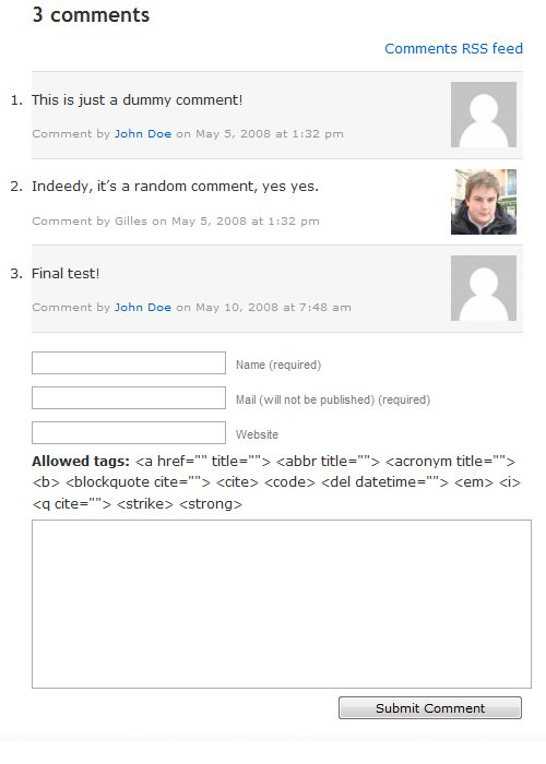 comments rss link