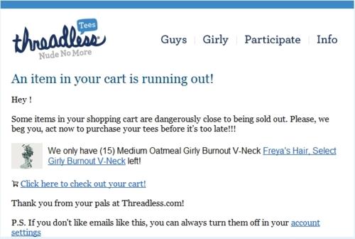 Threadless cart  item is running out