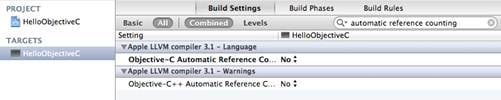 Figure 21 Disabling automatic reference counting
