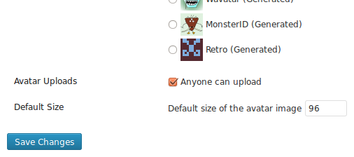 The Avatar Manager plugin options under the Settings Discussion Screen