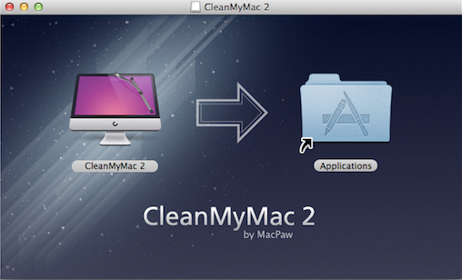 A disc image with an app file and Applications shortcut in it.