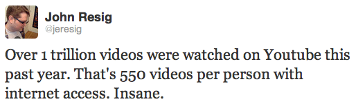 Over 1 trillion videos were watched on Youtube this past year. That's 550 videos per person with internet access. Insane. - John Resig on Twitter