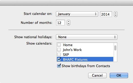 Choosing calendar options