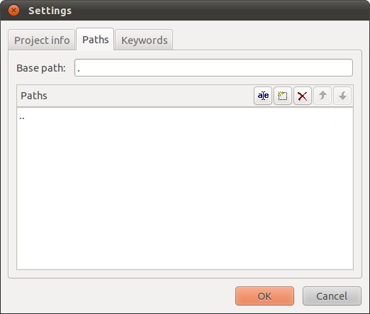Poedits Paths tab under the Settings window
