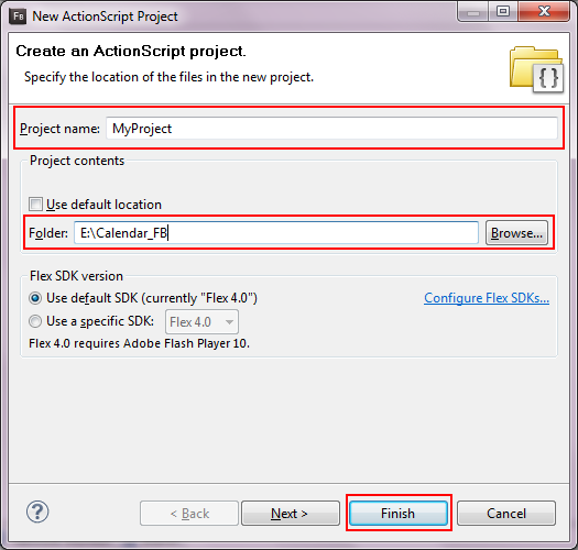 Flash Builder Select Project window.