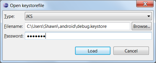 Opening the Keystore Screen 2