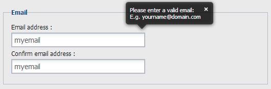 form validation pop up