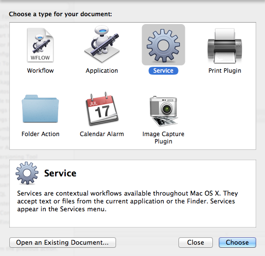 Creating a new Service workflow in Automator