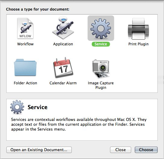 Make sure to choose Service when creating your new Automator document.
