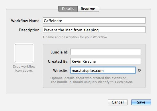 Caffeinate Workflow Naming Dialogue