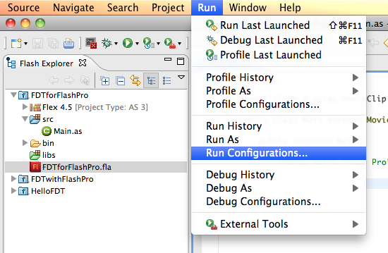 Run Configurations Menu