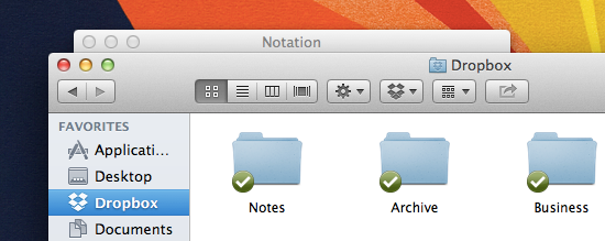 Adding your notes folder is as simple as dragging-and-dropping it in to Dropbox.
