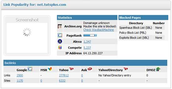 LinkVendor's Link Popularity Tool