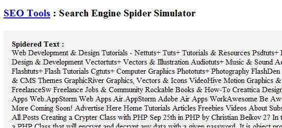 WebConfs' Spider Simulator