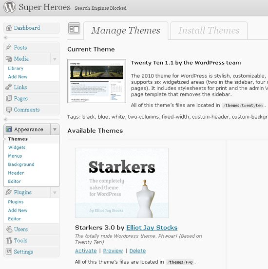 activate starkers theme
