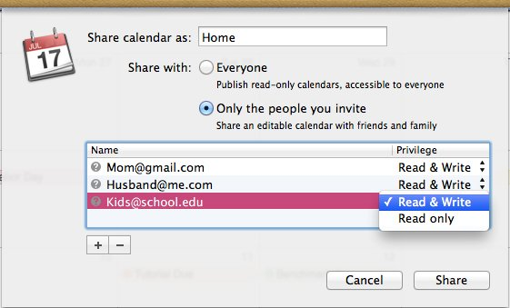 Sharing a calendar with only a few friends and family