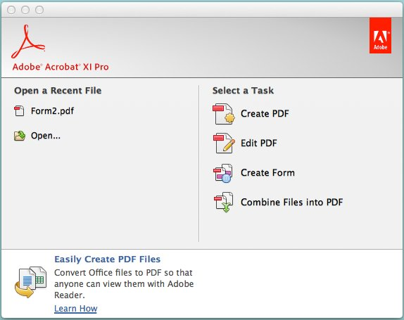 Click Create Form under Select a Task.