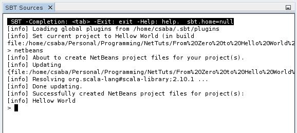 NetBeans SBT Console