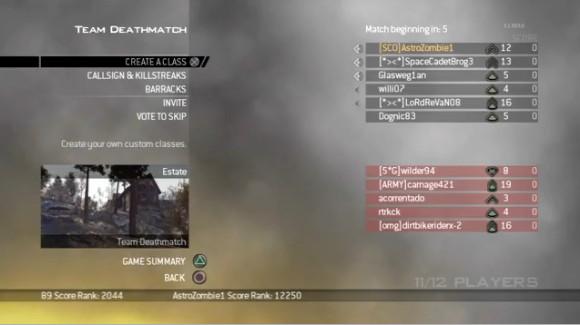 Modern Warfare 2 Menu