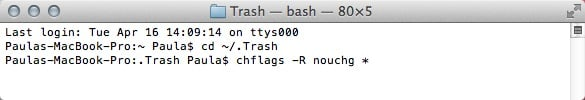 Unlock all of the Trash files in Terminal.