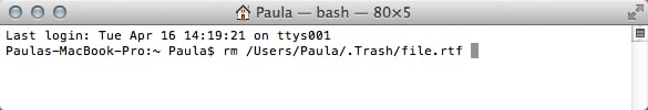Drag the file onto the Terminal window to get the file's path and name.