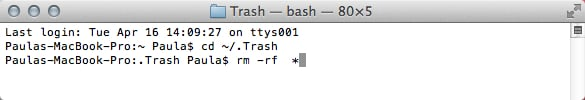 Remove all files in the Trash directory.