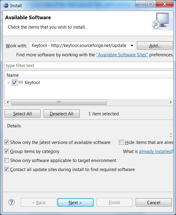 Installing Keytool plugin Step 3