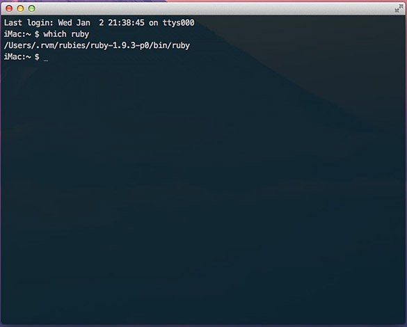 Terminal output for which ruby command