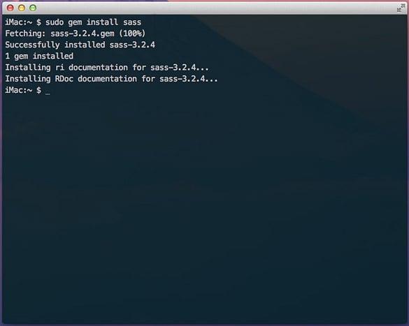 Terminal output for Sass gem installation