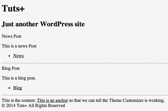 Theme Customizer: Posts Loop