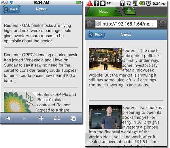 News page - iPod Touch