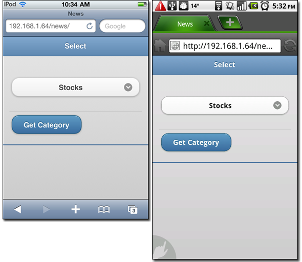 Categories page - iPod Touch