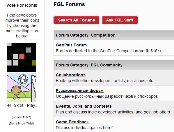 When browsing the forums, users are encouraged to vote for the best icon of a random pair, to help developers decide which to use.