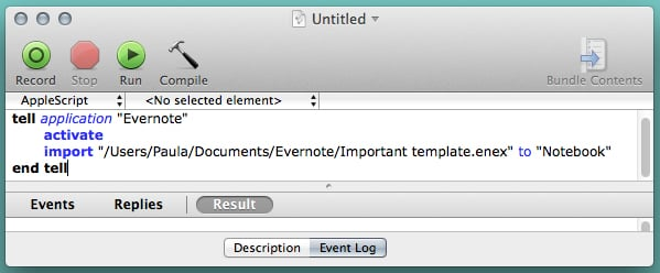 Your script should look something like this in the AppleScript Editor.