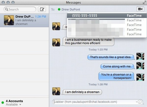 Initiating a new FaceTime chat in Messages will launch the FaceTime application.