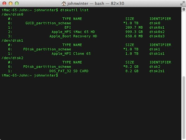 Listing the volumes in OS Xs Terminal