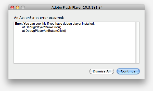 The error window displayed when the debug player is installed.
